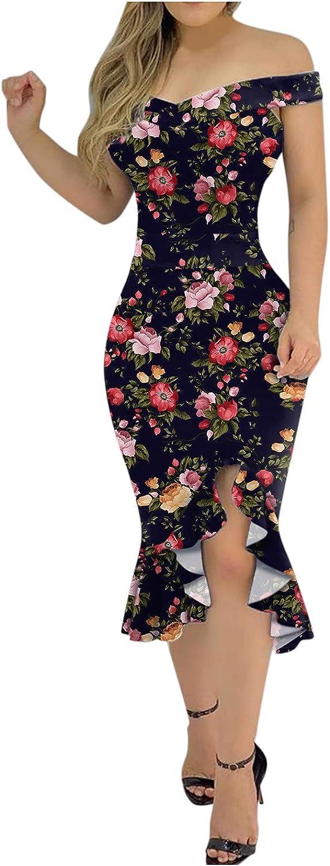 FNJJLU Summer Dresses for Women V Midi Neck Mail order Dress Shoulder Max 82% OFF One