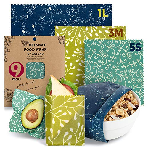Reusable Food Wraps w/Beeswax Assorted 9 Packs - Eco-Friendly Reusable Wraps, Biodegradable, Zero Waste, Organic, Sustainable, Plastic-Free Food Storage, 5S, 3M, 1L w/Curves Pattern