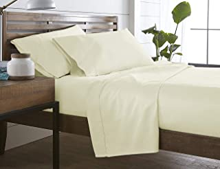 MARQUESS Bamboo Microfiber 4-Piece Sheet Set -Rayon from Bamboo,Breathable & Luxury-Deep Pocket -Luxury Lightweight Bedding Sheets (Cream, Full)