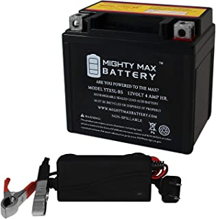 Mighty Max Battery YTX5L-BS Battery Replaces Keeway F-Act 50 2007 + 12V 1Amp Charger Brand Product