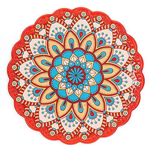 BOHORIA® Premium Design Topfuntersetzer – Dekorative Untersetzer für Vasen, Töpfe, Karaffen und Flaschen auf ihrem Esstisch aus Holz, Glas oder Stein (rund | 20cm) (Mandala Edition) (Divali)
