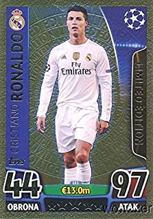 2016 Topps Match Attax Champions League EXCLUSIVE Cristiano Ronaldo Limited Edition GOLD Card! Rare Awesome Special Card Imported from Europe! Shipped in Ultra Pro Top Loader to Protect it !