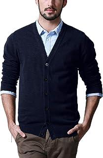 Match カーディガン メンズ Vネック ニット シンプル 無地 綿 長袖 セーター ボタン 春秋冬 ビジネス 大きいサイズ Z1522