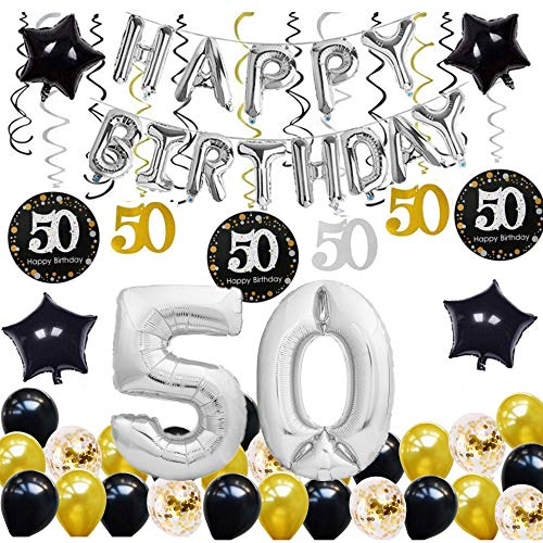 E.For.U® Deko 50. Geburtstag,50 Geburtstag Dekoration, Silber und Schwarz 50 Geburtstag Deko, Geburtstagsdeko, Happy Birthday Ballons Banner (50)