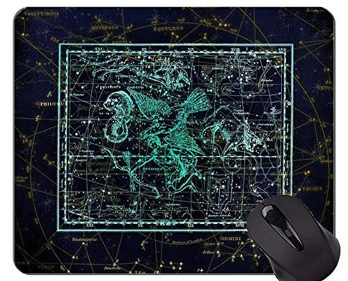 Rutschfeste Gummi-Gaming-Mausunterlage, Sternbild Sternbild Sternzeichen. Themen des Büros Mauspad