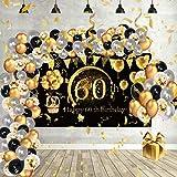 Globos de Cumpleaños Decoracion Regalo Mujer Adultos Feliz para 60 años Happy Birthday Arco Hombres Originales Confeti Numeros Fiesta Adornos Darados Balloons Accesorios Aniversario y Negros Vengalas