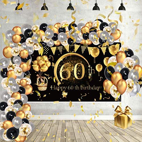 Decoration Anniversaire Ballon Cadeau Arche Deco Happy Birthday 60 Kit Lettre Banderole Joyeux Confettis Toile de Or Maman Noir Baudruche Femme pour Accessoires Homme Fete Dore Gold Gonflable Chiffre