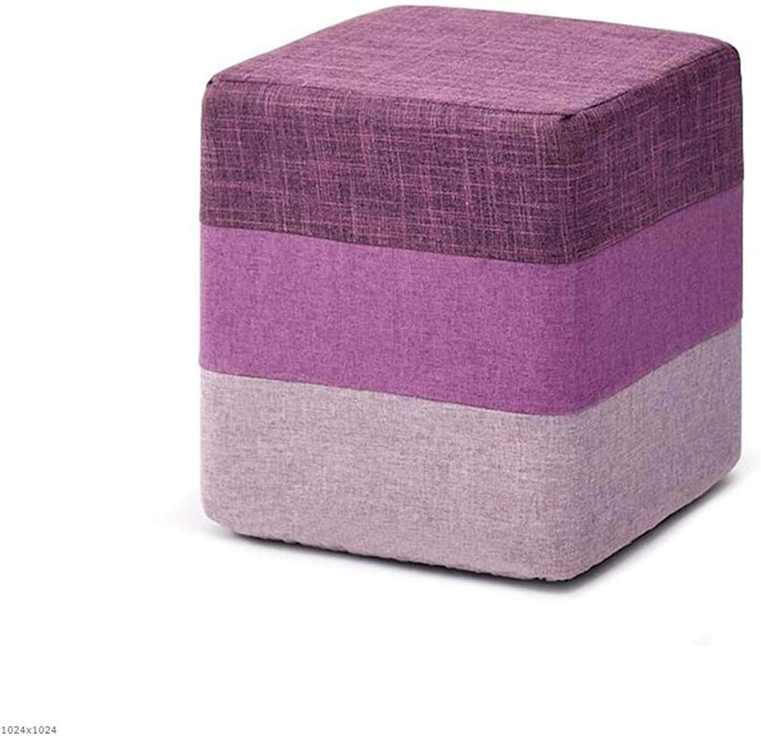 Comfortable Lounge Chair Storage Stool Storage Stool Rainbow color Footstool Living Room Sofa Change shoes Cushion,Round (color   Square)