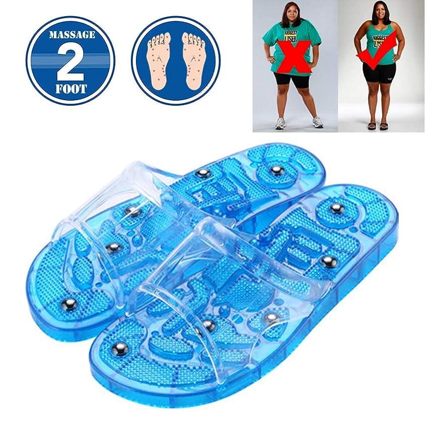密接にスポンジ終了しました磁気療法健康スリッパ女性の滑り止め自宅の屋内入浴足マッサージ足ツボペディキュアシューズケアシューズブルー,M