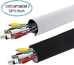 AGPTEK Câble Rangement du Néoprène avec Bande Adhésive (149cm*10cm), Cache câble Bureau Ideal pour Ranger ou Cacher les câbles, Gaine pour câbles de Télé ou Ordinateur- Blanc et Noir