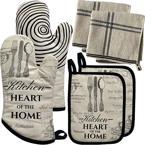 REFUDI, 1 paio di guanti da forno, antiscivolo, lunghi, in cotone, 32 cm