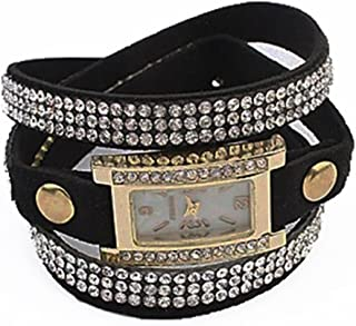 Women's Black Wrap Watch Rectangular Dial Crystal Bezel Crystal Accents