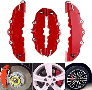Transser- 4Pcs RED 3D Caliper Covers Embossed Brem Fit Pliers Covers Car Universal ABS High Temperature Disc Brake Caliper Covers Front & Rear (Red)