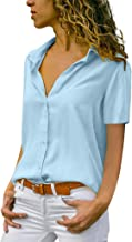 Mimfor Fashion Womens Chiffon Solid T-Shirt Office Ladies Plain Short Sleeve Blouse Top