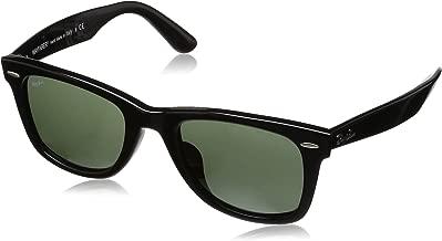 RAY-BAN RB2140F Original Wayfarer Asian Fit Sunglasses, Black/Green, 52 mm