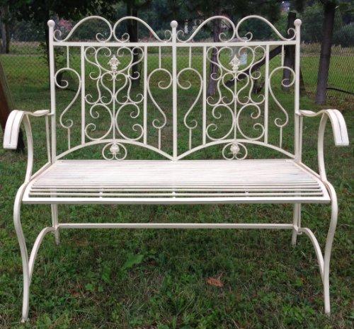 Clever-Deko - Banco de hierro forjado para jardín (2 plazas, hierro forjado), color crema y blanco