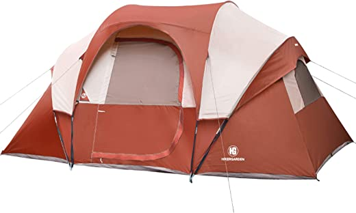 Camping Tent - 2021 Upgraded 10 Person Tent for Camping Waterproof, Family Tent, Windproof Fabric, Easy Setup with Large Mesh for Ventilation, Double Layer and Divided Curtain