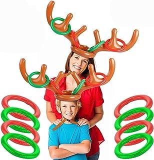 BETOY Sombrero de Asta de Navidad, 2 Piezas Christmas Party Toss Game Anillo Inflable de la Cornamenta de Renos para Navidad, Halloween, Fiestas, Cumpleaños, Juegos Escolares (2 Astas y 8 Anillos)
