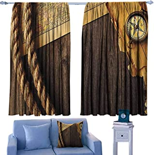 Mannwarehouse Customized Curtains Compass Decor Collection Antique Brass Compass and Rope Over Old Map on Wooden Timber Table Illustration for Living, Dining, Bedroom (Pair) 63