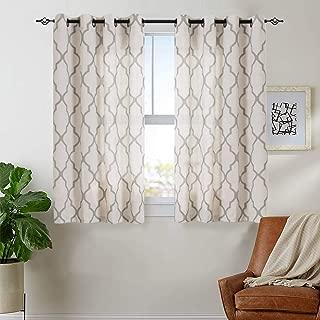 jinchan Print Curtains Moroccan Tile for Bedroom- Quatrefoil Flax Linen Blend Textured Geometry Lattice Grommet Window Treatment Set for Living Room 50