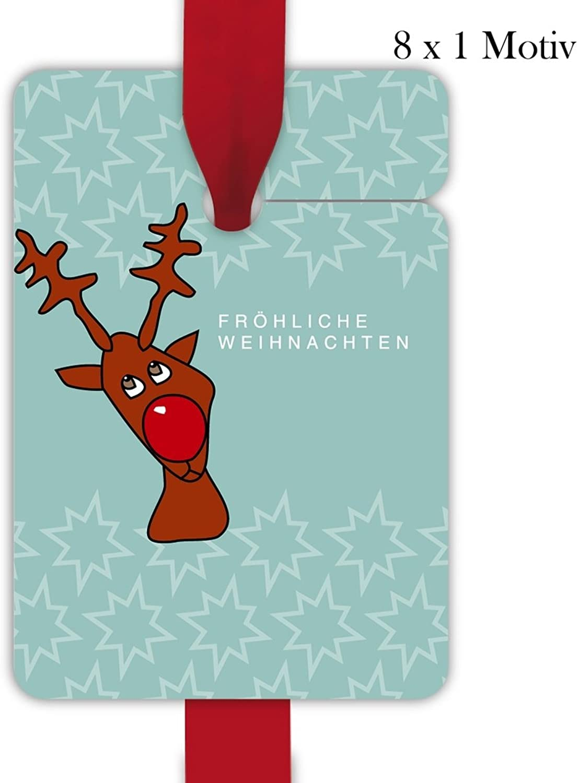 Kartenkaufrausch 10x8 türkise Weihnachts Geschenkanhnger   Deko Geschenkkarten   Papieranhnger   Etiketten Format 10 x 6,9cm mit komischem Elch  frhliche Weihnachten