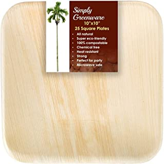 Simply Greenware Palm Leaf Plates 10 Inch | 25 Count | Sturdy & Premium Quality Square Plates | 100% Compostable Disposable & Better than Bamboo Plates | Dinner Lunch Steak Parties Picnics & Events !