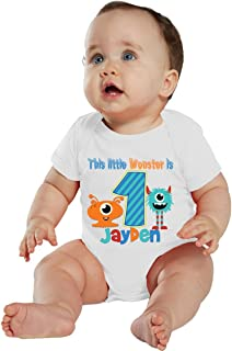 NanyCrafts Baby's This Little Monster Birthday Boy Personalized Bodysuit