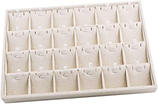 Baoblaze Beige Linen Drawer Jewelry Display for Necklace Bracelet, Jewellery Tray for Brooch Cufflinks Showcase Organizer Box - Multi-Functional Case - Beige, 24 Grids Necklace Tray