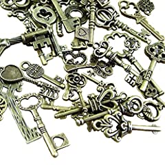 BESTIM INCUK 120 Gram Antique Bronze Vintage Skeleton Keys Steampunk Gears Cogs Charms Pendant Clock Watch Wheel for Jewelry Making Supplies, Steampunk Accessories, Craft Projects (Approx 80pcs) #3