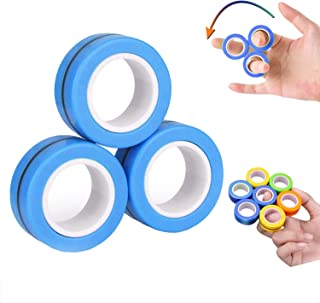 Colorful Bo-Po 3PCS Magnetic Finger Rings Fidget Toys Stress Anxiety Decompression Magical Ring Props Durable Unzip Hand ADHD Spinners Tools with Bearing Focus for Adults Children