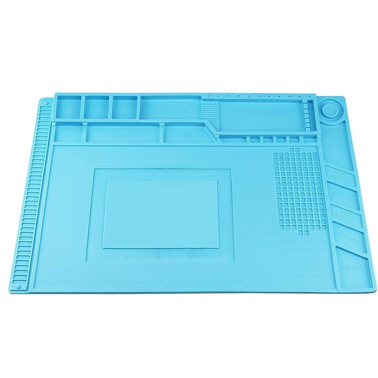 Heat Insulation Silicone Repair Mat, Large Silicone Repair Mat for Soldering Iron, Phone and Computer Repair, Heat Gun, Electronics Repair Disassembly (17.79''11.69'') - Blue