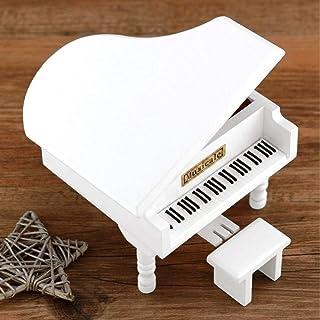 L.J.JZDY Musiklådor musiklådor stor piano musiklåda trä musiklåda barn födelsedagspresenter (färg: Vit, storlek: Gratis)