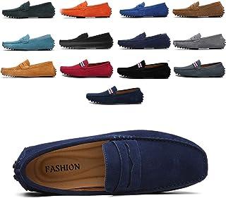4b1ff3435b6427 AARDIMI Mocassins en Daim Hommes Penny Loafers Casual Bateau Chaussures de  Ville Flats 38-49
