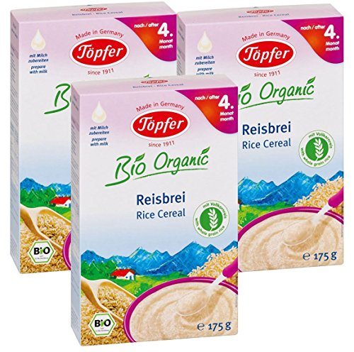 gachas de arroz orgánico Töpfer con arroz integral, 3-pack (3 x 175g)