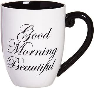 Cypress Home Black Ink Good Morning Beautiful 18 oz Ceramic Cup O Joe Coffee Mug