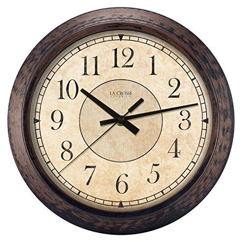 "LaCrosse 404-2635 Analog Wall Clock, 14"", Rustic Brown"
