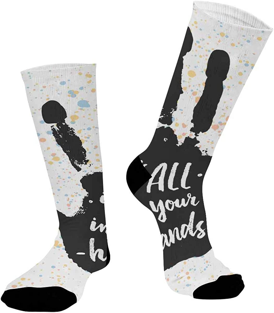 INTERESTPRINT Sublimated Crew Casual Athletic Socks It's All in Your Hands