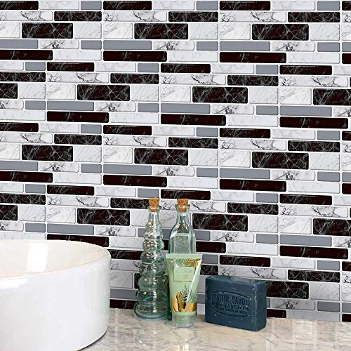 LUOWAN 9 Sheets Wall Tile Stickers Black and White Tiles Peel and Stick...
