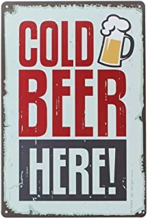 ERLOOD Pin up Cold Beer Here Retro Vintage Decor Metal Tin Sign 12 X 8