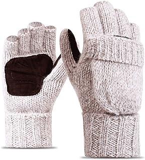 HAOSHUAI Wol Gebreide Half Vinger Flip Winter Plus Fluwelen Dikke Leer Warm Outdoor Rijhandschoenen, Ridding handschoenen (Kleur : Grijs)
