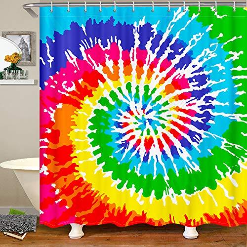 "Tie Dye Shower Curtain Colorful Rainbow Swirl Bath Curtain Chic Hippie Style Girls Boys Women Bathroom Decor Boho Abstract Art Hippy Tie Dye Decor Waterproof Shower Curtain With Hooks ,72"" W x 84"" L"