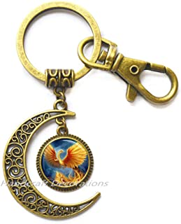 Phoenix Moon Keychain, Phoenix Key Ring, Pheonix Jewelry, Phoenix Charm, Men's Moon Keychain,Phoenix Jewelry Fantasy Bird Phoenix.F152 (E2)
