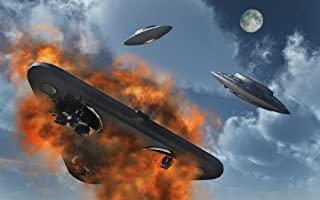Posterazzi PSTMAS100733SLARGE UFO's from different alien races fighting each other in the Earth's atmosphere Poster Print 36 x 22