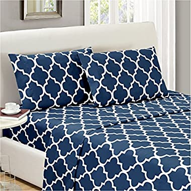 Mellanni Bed Sheet Set King-Navy-Blue - HIGHEST QUALITY Brushed Microfiber Printed Bedding - Deep Pocket, Wrinkle, Fade, Stain Resistant - Hypoallergenic - 4 Piece (King, Quatrefoil Navy Blue)