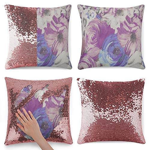 Sequin Pillow Cover, Blue Lavender Floral, Zipper Pillowslip Pillowcase, Decorations for Sofas, Armchairs, Beds, Floors, Cars