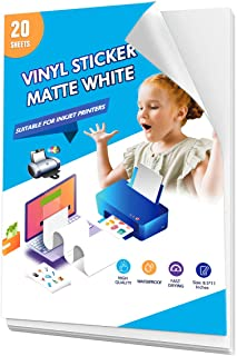 Printable Vinyl Sticker Paper for Inkjet Printer 10 Sheets Matte White Waterproof and Quick-Drying Self-Adhesive Standard ...