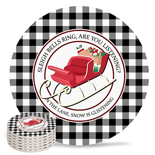 4' Ceramic Drink Coasters Set of 6 Absorbent Coaster with Cork Base Cups Mug Place Mats for Kitchen Bar Home Decor, Merry Christmas Gifts Sleigh Bells Ring Are You Listening Black White Plaid