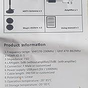 Rpanle Antena TV Digital Portátil para Interiores, Mástil de Antena-Antena TV Interior de Alta Ganancia de 30 dB para Receptor USB TDT/DTMB, ...
