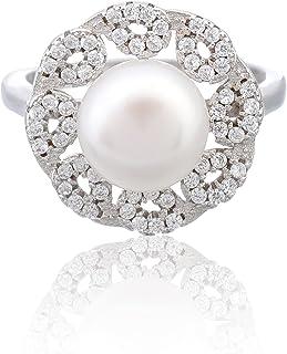 خاتم فضى للنساء من مجوهرات مرجان - أبيض