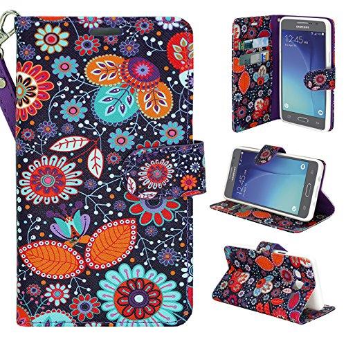 Galaxy On5 Case, Galaxy On 5 Case, Customerfirst - Premium PU Leather Flip Fold Wallet Pouch Case for Samsung Galaxy On5 + Emoji Keychain (Little Daisy)